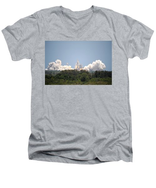 Men's V-Neck T-Shirt featuring the photograph Sts-132, Space Shuttle Atlantis Launch by Science Source