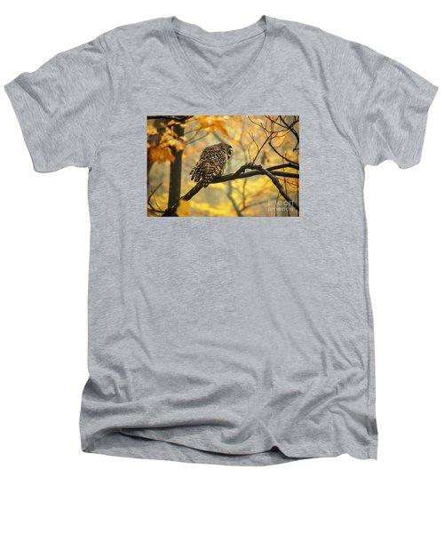 Stubborn Owl Men's V-Neck T-Shirt by Debbie Green