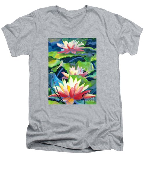 Styalized Lily Pads 3 Men's V-Neck T-Shirt by Kathy Braud