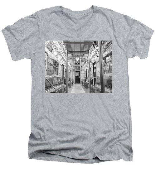 New York City - Subway Car Men's V-Neck T-Shirt