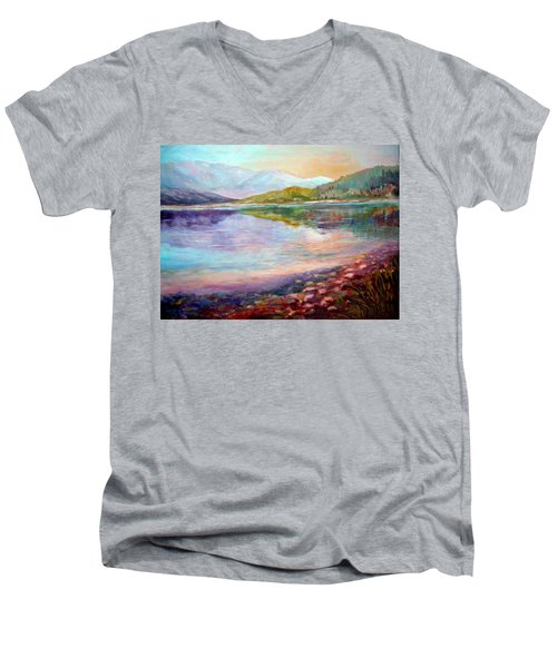 Men's V-Neck T-Shirt featuring the painting Summer Afternoon by Sher Nasser