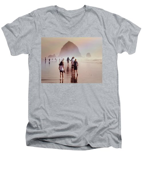 Men's V-Neck T-Shirt featuring the photograph Summer At The Seashore  by Micki Findlay