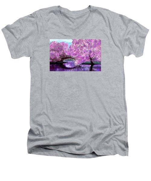 Summer Bridge Men's V-Neck T-Shirt by Michele Avanti