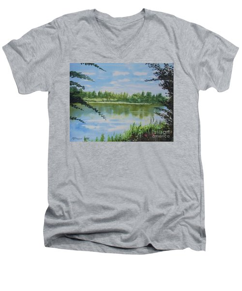 Summer By The River Men's V-Neck T-Shirt