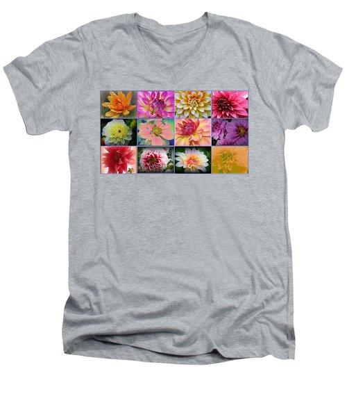Summer Time Dahlias Men's V-Neck T-Shirt by Dora Sofia Caputo Photographic Art and Design
