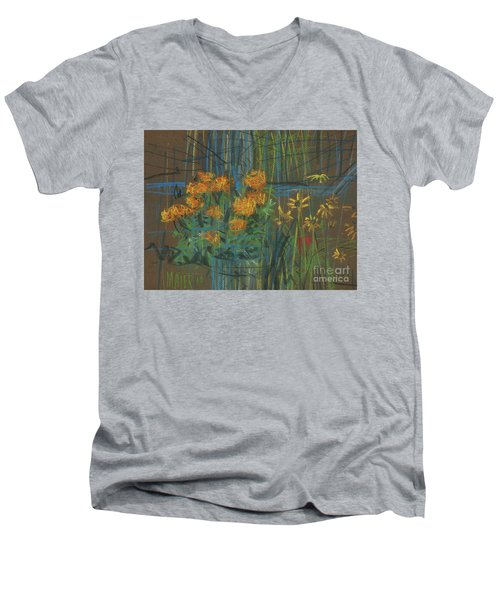 Men's V-Neck T-Shirt featuring the painting Summer Flowers by Donald Maier