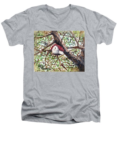 Men's V-Neck T-Shirt featuring the painting Summer Home by Shana Rowe Jackson