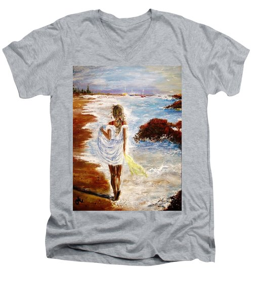 Men's V-Neck T-Shirt featuring the painting Summer Memories by Cristina Mihailescu
