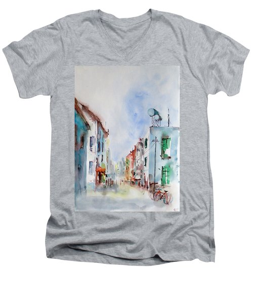 Men's V-Neck T-Shirt featuring the painting Summer Morning by Faruk Koksal