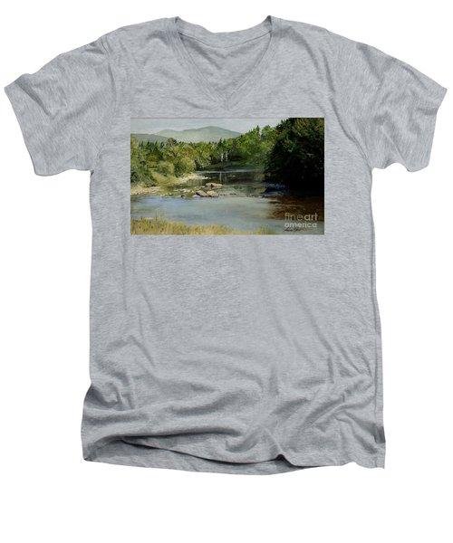 Summer On The River In Vermont Men's V-Neck T-Shirt