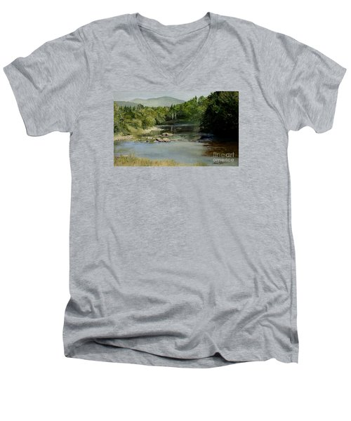 Summer On The River In Vermont Men's V-Neck T-Shirt