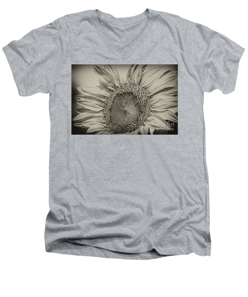 Men's V-Neck T-Shirt featuring the photograph Summer Sunflower by Wilma  Birdwell