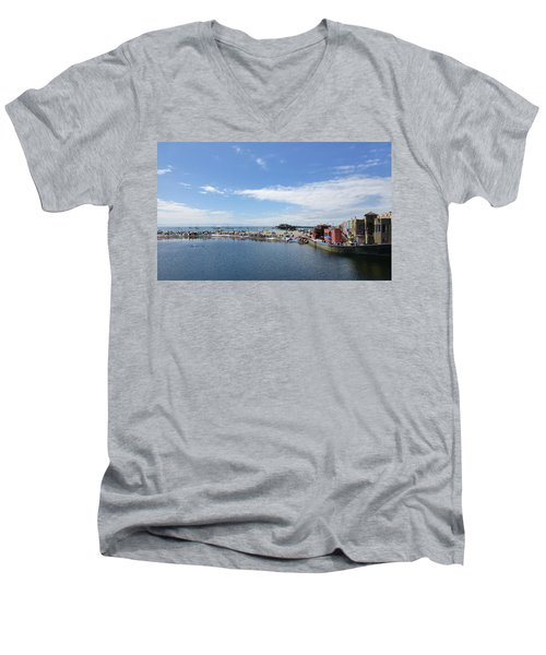 Summers End Capitola Beach Men's V-Neck T-Shirt by Amelia Racca
