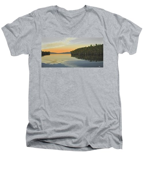 Men's V-Neck T-Shirt featuring the painting Summers End by Kenneth M  Kirsch