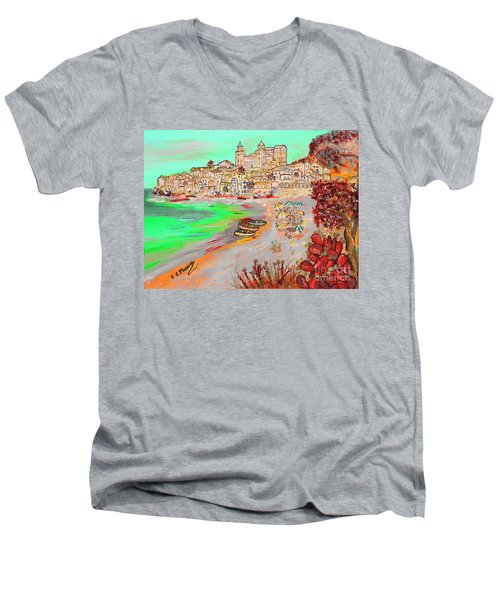 Summertime In Cefalu' Men's V-Neck T-Shirt by Loredana Messina