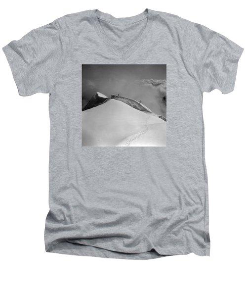 T-702412-bw-summit Of Mt. Robson Men's V-Neck T-Shirt