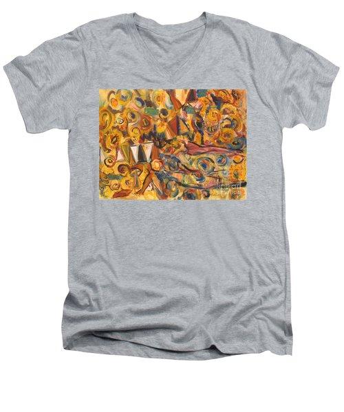 Sun- Bathing Among Yellow  Roses Men's V-Neck T-Shirt