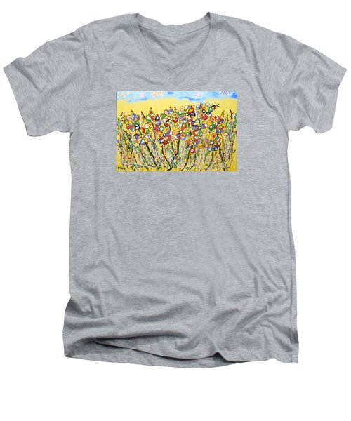 Sun-kissed Flower Garden Men's V-Neck T-Shirt