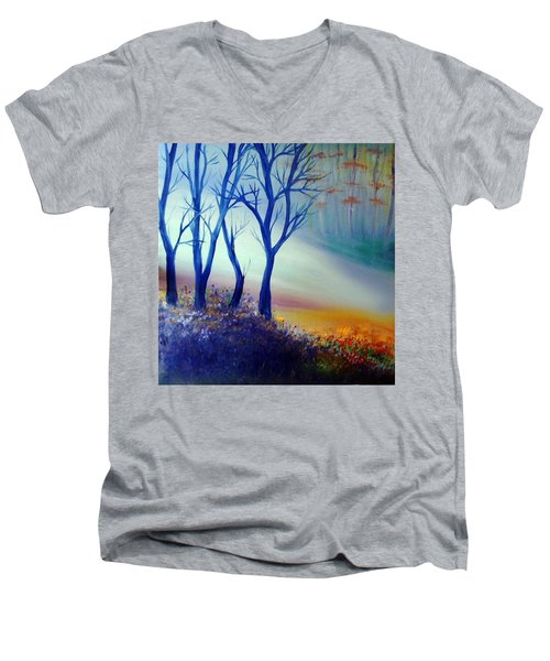 Men's V-Neck T-Shirt featuring the painting Sun Ray In Blue  by Lilia D