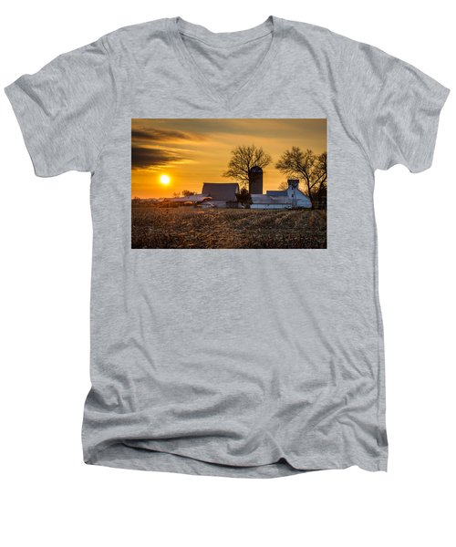 Sun Rise Over The Farm Men's V-Neck T-Shirt
