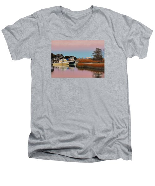 Men's V-Neck T-Shirt featuring the photograph Sun Setting At Murrells Inlet by Kathy Baccari
