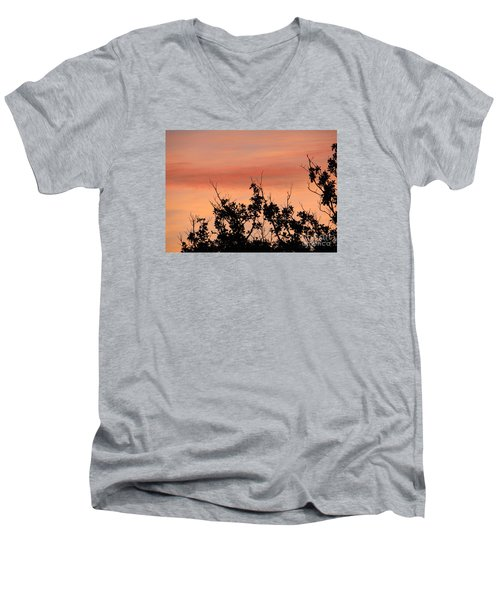 Men's V-Neck T-Shirt featuring the photograph Sun Up Silhouette by Joy Hardee