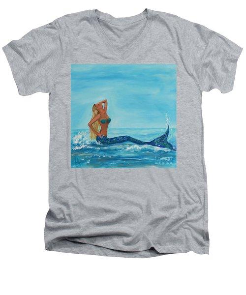 Sunbathing Mermaid Men's V-Neck T-Shirt