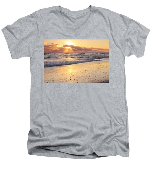 Men's V-Neck T-Shirt featuring the photograph Sunbeams On The Beach by Roupen  Baker