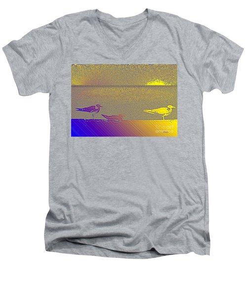 Men's V-Neck T-Shirt featuring the photograph Sunbird by Ecinja Art Works