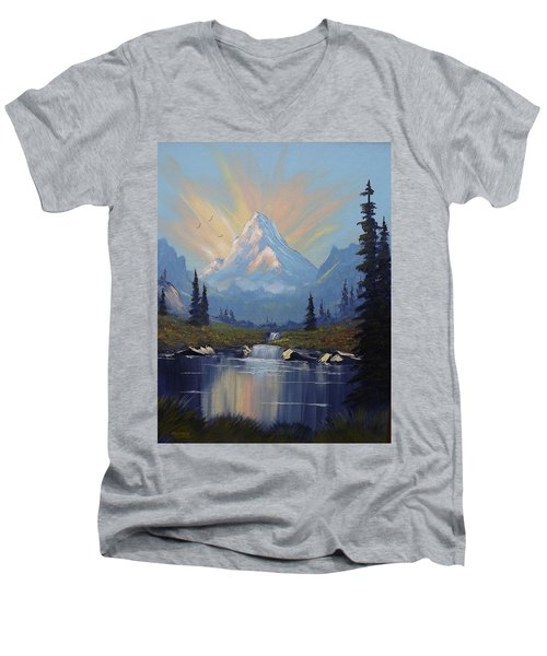 Men's V-Neck T-Shirt featuring the painting Sunburst Landscape by Richard Faulkner