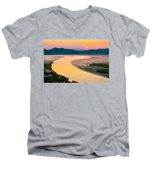 Suncheon Bay Sunset Men's V-Neck T-Shirt