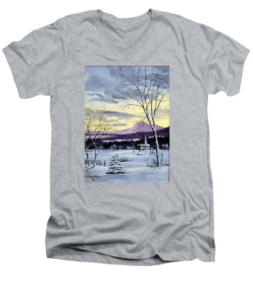 Men's V-Neck T-Shirt featuring the painting Sunday In Winter by Lee Piper
