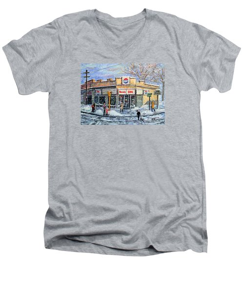 Men's V-Neck T-Shirt featuring the painting Sunday Morning At Renie's Spa by Rita Brown