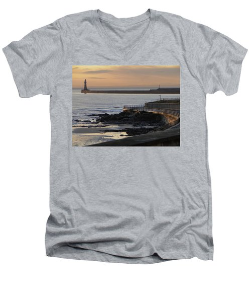 Men's V-Neck T-Shirt featuring the photograph Sunderland Sunrise by Julia Wilcox
