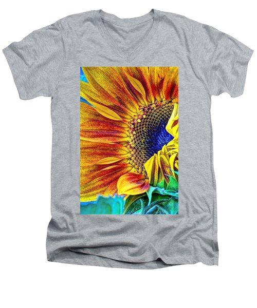 Sunflower Abstract Men's V-Neck T-Shirt