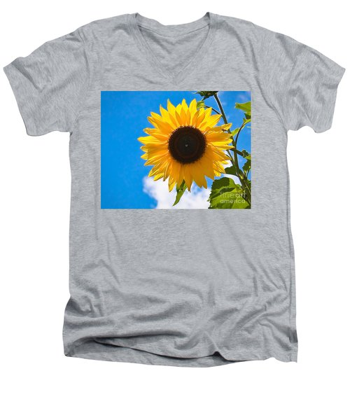 Sunflower And Bee At Work Men's V-Neck T-Shirt