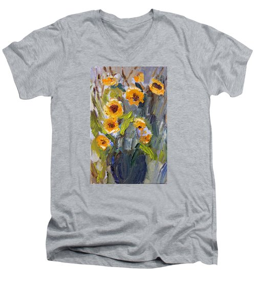 Men's V-Neck T-Shirt featuring the painting Sunflower Bouquet by Michael Helfen