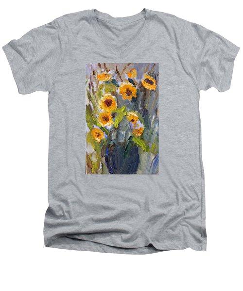 Sunflower Bouquet Men's V-Neck T-Shirt by Michael Helfen