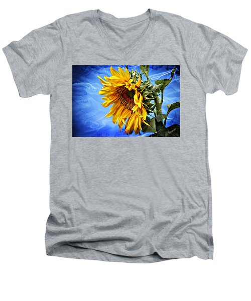 Men's V-Neck T-Shirt featuring the photograph Sunflower Fantasy by Barbara Chichester