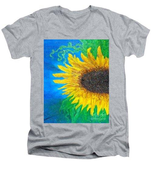 Sunflower Men's V-Neck T-Shirt by Holly Martinson