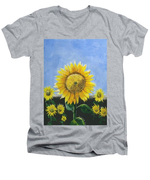 Men's V-Neck T-Shirt featuring the painting Sunflower Series One by Thomas J Herring