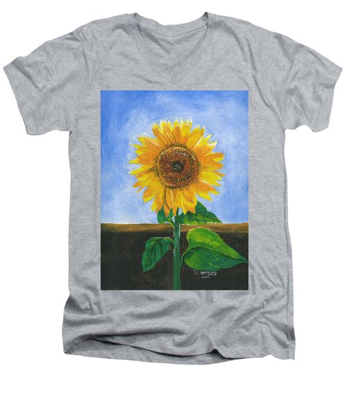 Men's V-Neck T-Shirt featuring the painting Sunflower Series Two by Thomas J Herring