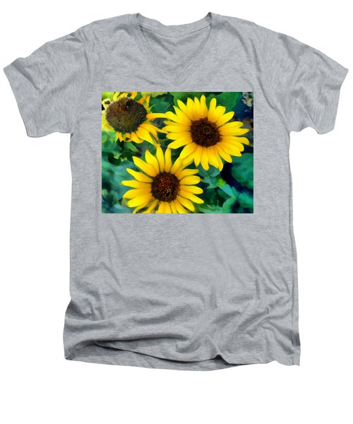 Men's V-Neck T-Shirt featuring the photograph Sunflower Trio  by Ann Powell