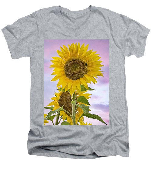 Sunflower With Colorful Evening Sky Men's V-Neck T-Shirt
