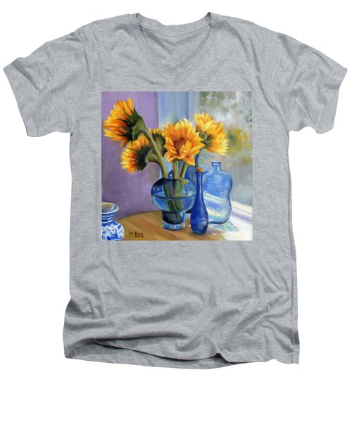Sunflowers And Blue Bottles Men's V-Neck T-Shirt by Marlene Book