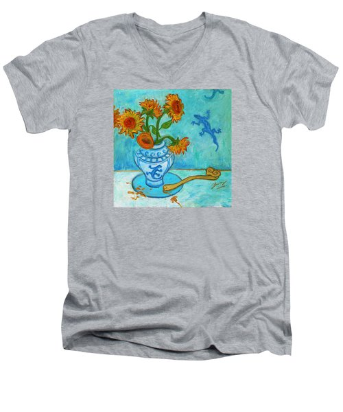 Men's V-Neck T-Shirt featuring the painting Sunflowers And Lizards by Xueling Zou