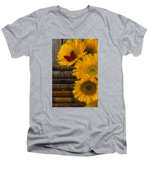 Sunflowers And Old Books Men's V-Neck T-Shirt by Garry Gay