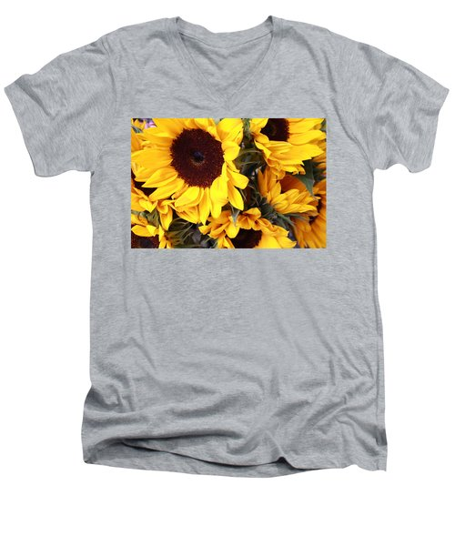 Men's V-Neck T-Shirt featuring the photograph Sunflowers by Dora Sofia Caputo Photographic Art and Design