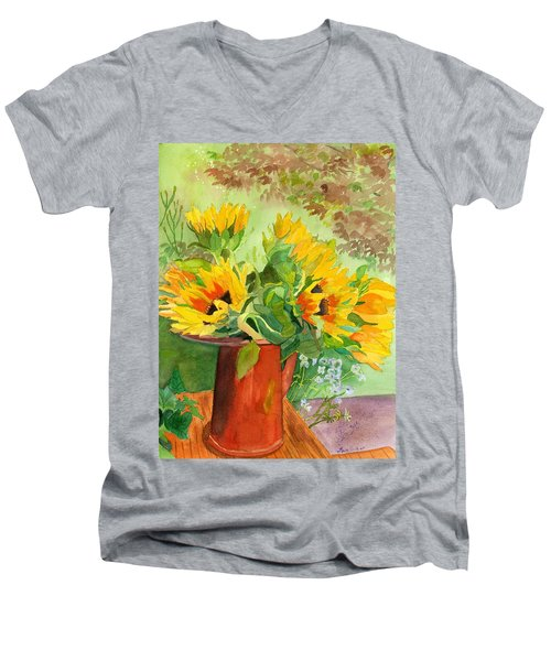 Sunflowers In Copper Men's V-Neck T-Shirt