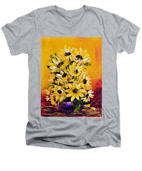 Men's V-Neck T-Shirt featuring the painting Sunflowers  No.3 by Teresa Wegrzyn